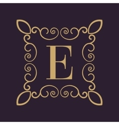 Monogram letter E Calligraphic ornament Gold vector image