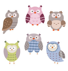set of cute owls set of cute owls vector image