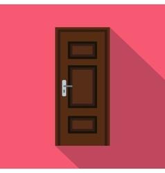 Brown wooden door icon flat style vector image