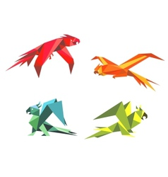 Colorful parrot birds vector image vector image