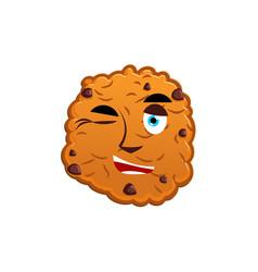 cookies winking emoji biscuit emotion happy food vector image vector image