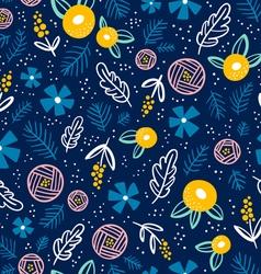 Floral doodle pattern on blue vector image vector image