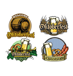 oktoberfest badge design collection in full vector image vector image