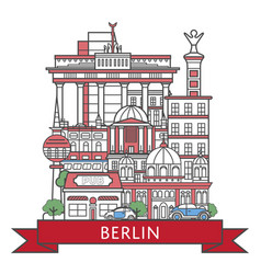 Travel berlin poster in linear style vector