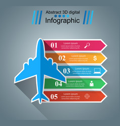 airplane infographics origami style vector image