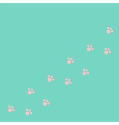 Dog cat paw print track diagonal Pink footprint vector image vector image