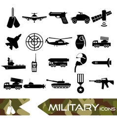 Military theme simple black icons set eps10 vector