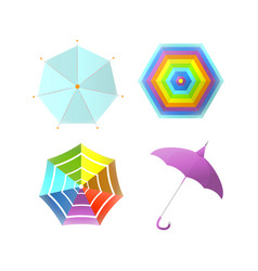 umbrella parasol side and top view rainbow color vector image