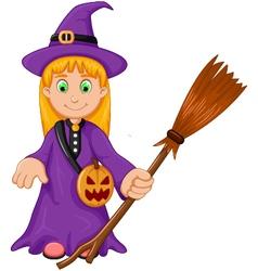 witch Halloween Cartoon with broom and pumpkin bag vector image