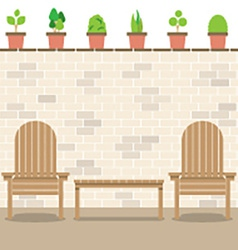 Wooden Garden Chairs With Table And Pot Plants vector image vector image