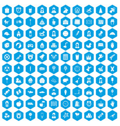 100 child center icons set blue vector