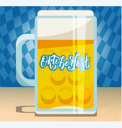 a large beer mug with hand drawn lettering vector image