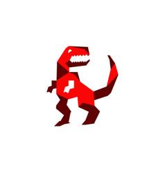a t-rex geometric cartoon vector image