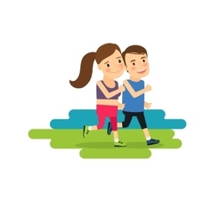 Active lifestyle running boy and girl vector