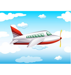 Airplane flying in the sky at daytime vector