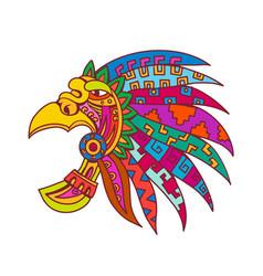 Ancient aztec headdress drawing color vector