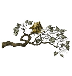 artistic sketch of birdhouse on tree vector image