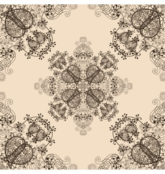 Blue Floral Seamless Pattern on Beige vector image