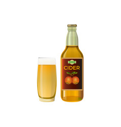 bottle and a glass of cider vector image