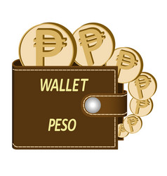 Brown wallet with peso coin vector