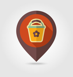 bucket flat pin map icon vector image