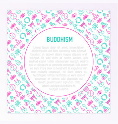 Buddhism concept with thin line icons vector