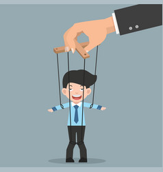 Businessman on ropes controlled hand vector