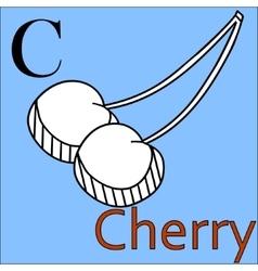 C letter alphabet Coloring book cherry vector image