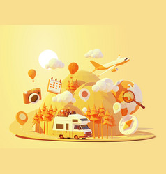 Camper van travel adventures vector
