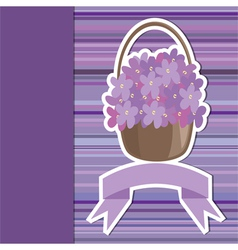 card with flower basket and banner vector image
