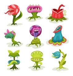 carnivore plants set colorful fantastic malicious vector image