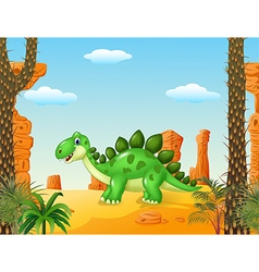 Cartoon cute dinoasur with the desert background vector image