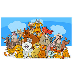 cartoon dog and cats characters vector image