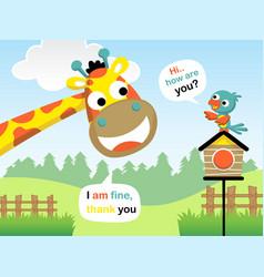 Cartoon of funny giraffe and bird in the garden vector