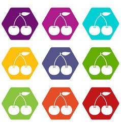 cherry icon set color hexahedron vector image