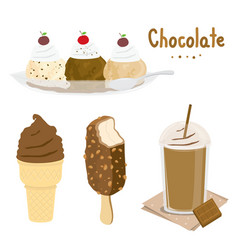 chocolate ice cream dessert cartoon vector image