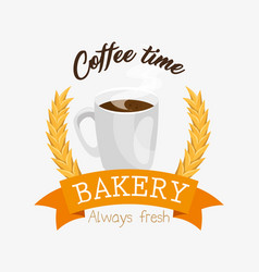 Coffe time bakery label vector