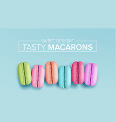 Colourful macarons top view tasty sweet vector
