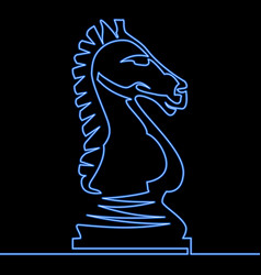 Continuous one line neon chess knight icon concept vector