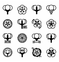 Cotton icon set vector image