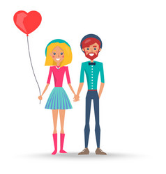 couple in love in hats boy and girl with balloon vector image