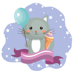 Cute cat with ice-cream sweet kawaii character vector