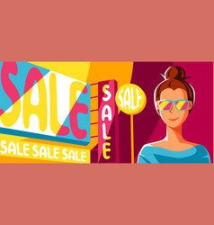 cute girl goes on shopping vector image
