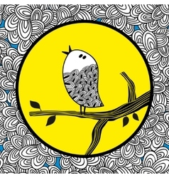 Doodle bird and the moon vector
