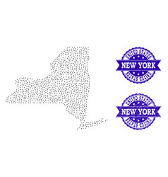 dotted map of new york state and textured stamp vector image