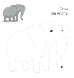 Draw animal elephant educational game vector