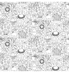 Easter doodle seamless pattern vector