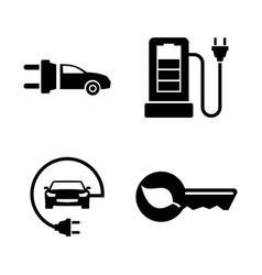 electric car simple related icons vector image