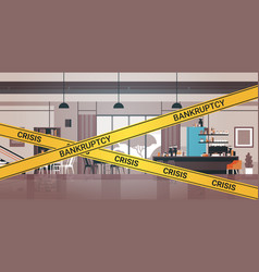 empty closed bar with yellow bankruptcy crisis vector image