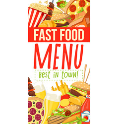 fast food menu with burgers desserts and snacks vector image